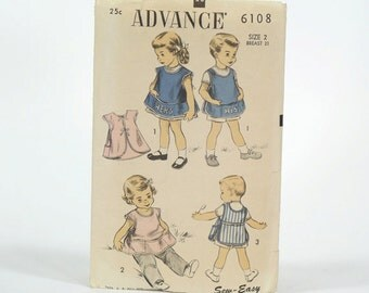 Vintage 50s ADVANCE Childrens Apron Pattern - Advance No. 6108 - Original Envelope