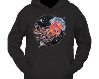 """Jellyfish Art Hoodie - Surreal Art Hoodie - Wearable Art - Black Hoodie - """"Gentle Jelly"""" design by Black Ink Art"""