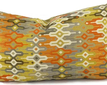Orange, Gold, Tan, Gray & Brown Ikat Chevron Lumbar Pillow Cover, Moroccan Design Pillow Cover, Throw Pillow, 12x20