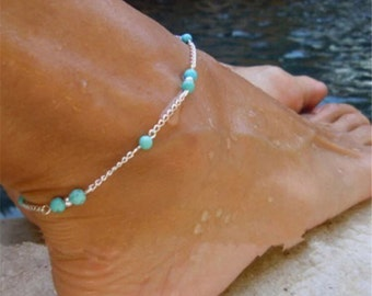 Blue turquoise and silver anklet
