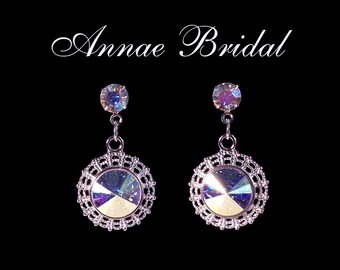"Crystal Aurora Borealis earrings in silver setting, Bridal, wedding, Swarovski, ""Radiant"" earrings"