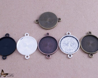 25- 25mm (1inch) Round Connector Trays - 5 Color Choices - Mix-n-Match - Blank Bezel Settings - Photo Jewelry - Findings - Lilly D's