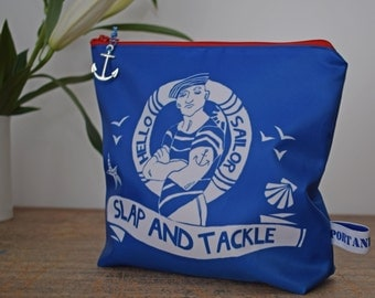 Washbag with Hello Sailor boy design and Slap and Tackle quote
