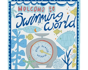 "Funny fishy greeting card with ""Swimming world"" design"