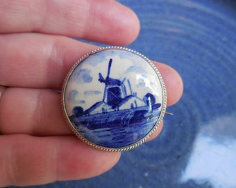 Handpainted Delft Holland Windmill Broach