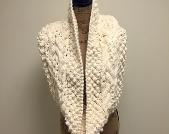 Cream Cabled Chunky Winter Cowl