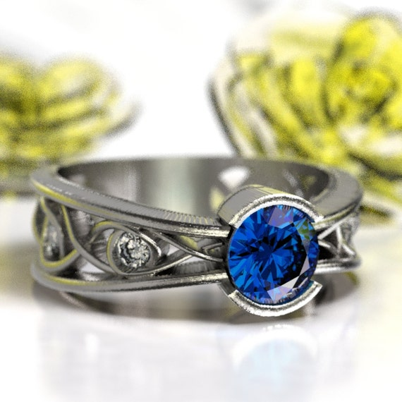Moissanite And Sapphire Ring With Celtic Infinity Symbol Design in Sterling Silver, Made in Your Size 1092