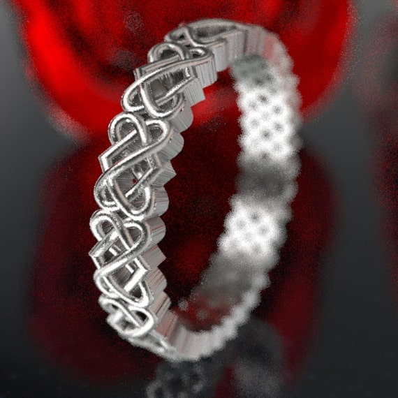 Celtic Heart Knot Ring Wedding Band, 925 Sterling Silver Celtic Knot Ring, Unique Wedding Heart Ring, Recycled Silver Ring, Your Size CR1033