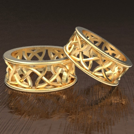 Celtic Wedding Band Set With Cut-Through Continuous Knotwork Design in 10K 14K 18K Gold, Palladium or Platinum, Made in Your Size CR-26
