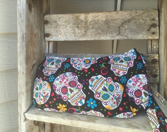 Sugar Skull Clutch - Make Up Bag - Ready to Ship