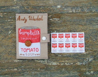 Andy Warhol Passport cover/ READY TO SHIP/ Campbell Soup case /Hand Embroidered Passport Holder/ One-of-a-Kind Gift