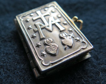 Antique French Religious Pendant Miniature Book Sacred Heart of Jesus and Immaculate Heart of Mary- vintage Jewelry 1900-1910