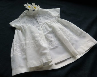 Vintage from France-Little dress for Baby's girl-English embroidery.Doll-