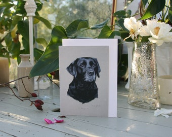 Kenya - A6 Blank greetings cards of a black Labrador drawn by Imogen Man