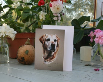 Lilly - A6 Blank greetings card of a Yellow Labrador drawn by Imogen Man