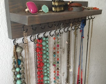 Double Necklace Holder with Ledge, Jewelry Organizer - Stained Wood, 2 inch, 28 hooks