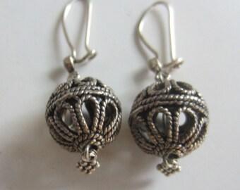 Silver Tone Earrings from Turkey Filigreed Pattern