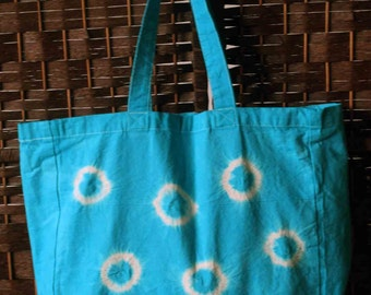 Turquoise tie dye cotton tote bag