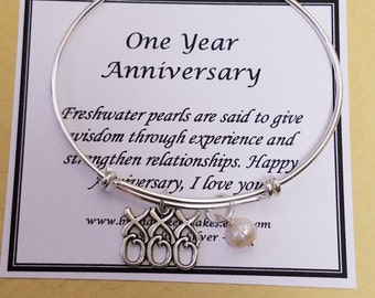 Fresh Water Pearl First Anniversary Gift Bangle One Year Keepsake