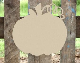 Pumpkin w/ Vine Unfinished Wooden Craft Shape, Fall Door Decor