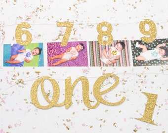 1st Birthday Cake Topper Monthly Photo Banner First Birthday Cake Banner Birthday Party Happy Birthday Cake Decoration High Chair Décor