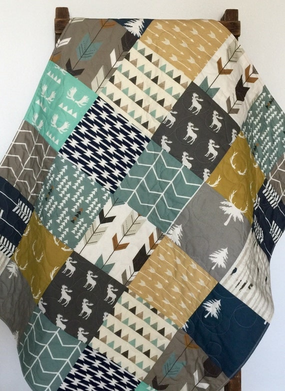 Crib Bedding Baby Boy Rooms: Modern Baby Quilt Woodland Crib Bedding Woodland Crib By