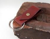 Bordeaux Leather Key Ring w/ brass rivet, burgundy leather key fob, oxblood leather keychain, small gift, vegetable tanned leather, keyring