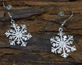 Snowflake Earrings 23mm  Sterling Silver Diamond Pave' Tooled snow flake