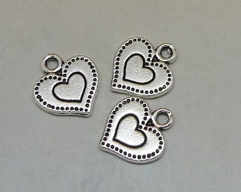 25 Heart Charms, 13x14mm Antique Silver Heart Charms Pendant, Jewelry Charms, Necklace Pendant, Bracelet Pendant