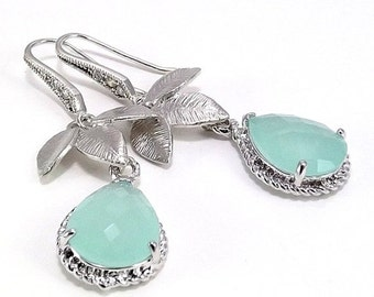 SUMMER SALE Silver Earrings - Matte Silver Plated Three Leaves with Aqua Blue Ice Faceted Glass Teardrops