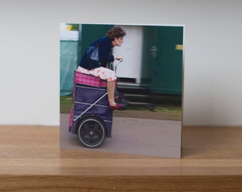 Granny Turismo - a member of the Shopping Trolley Dance Display Team at a British music festival