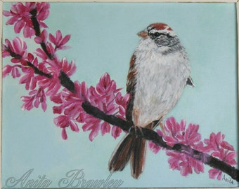 Chipping Sparrow Bird Original Painting – Shipping Included