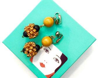 Mod Dangle Earrings, Fun Funky Earrings, Topaz Rhinestones, Acrylic Beads, Clip-on Earrings, 1960s