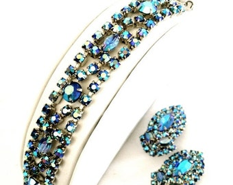 Blue Aurora Borealis Rhinestone Bracelet and Earrings Demi, Special Occasion