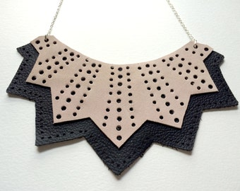 Black and Pink Chevron Genuine Leather Cutout Necklace