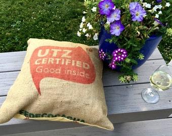 Burlap Pillow  Cover - Recycled Utz Burlap Bag Pillow - Cover Decor Pillow