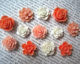 Magnets, Fridge Magnets, 12 pc Flower Magnets, Coral, Ivory and Peach, Kitchen Decor, Housewarming Gift, Wedding Favor, Stocking Stuffer