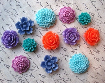 Fun Fridge Magnet Set, 12 pc Flower Magnets, Mixed Color Magnets, Housewarming Gifts, Hostess Gifts, Wedding Favors, Stocking Stuffers