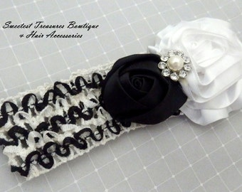Girl's Black and White Satin Flower Headband, Rhinestone and Crocheted Elastic Headband