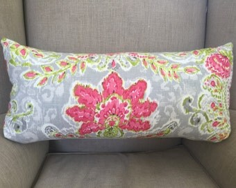 Rectangle Cushion Cover/Pillow in Dena Designs Crystal Vision Capri. Shades of Green, Grey and Red.