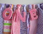 Pink Glitter and Purple Girls Banner First Birthday Banner Photo Prop