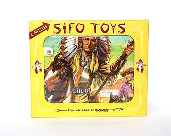 Vintage Puzzles - Sifo Toys - Tray Puzzles - Native American Indian Decor - Vintage Picture Puzzles - Native American Pictures - Retro Toy