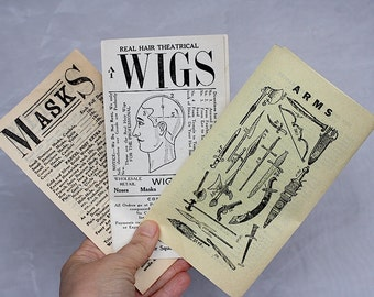 Vintage Theatrical Supply Brochures - Antique Theater Props - Wigs - Masks - Costumes - Carnivals - Minstrel Show - Arms - Gustav Klippert