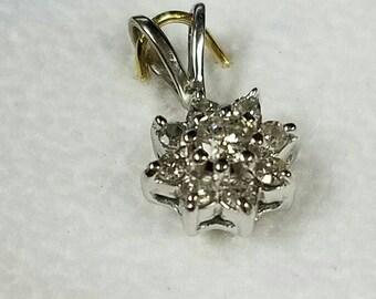 14kt white gold diamond flower pendant