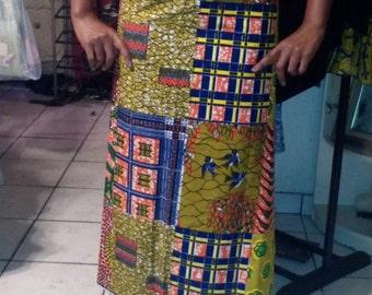 African Print Wrap Skirt-C23
