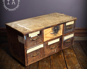 Vintage Industrial 6 Drawer Rolling Parts Cabinet Tool Storage