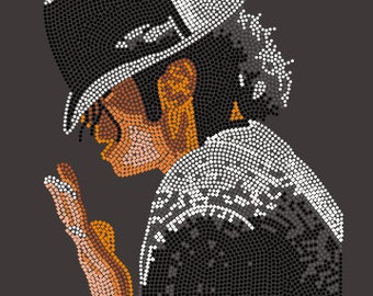 "Michael Jackson ""Billie Jean"" Rhinestone Heat Transfer (Garment Not Included)"