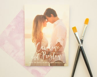 Save the Date Cards with Modern Calligraphy Names, Full Bleed Photo Save the Date, Wedding Save the Dates | Watercolor Wash
