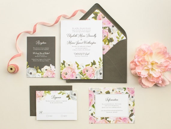 Hand Painted Floral Wedding Invitations, Elegant Invitations for a Classic Wedding, Watercolor Flowers Invite SAMPLE | Blooming