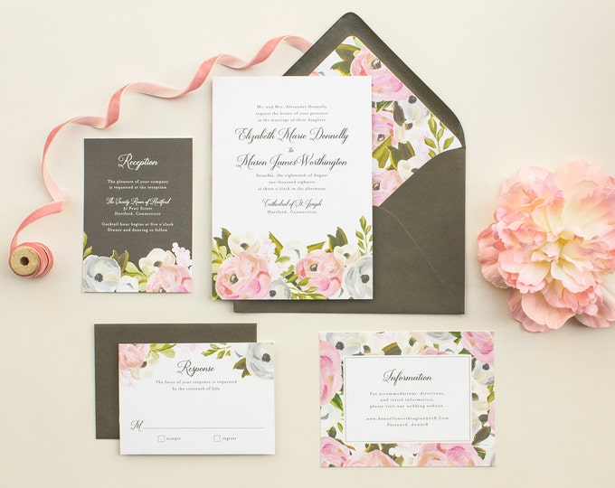 Hand Painted Floral Wedding Invitations, Elegant Invitations for a Classic Wedding, Watercolor Flowers Invite SAMPLE   Blooming